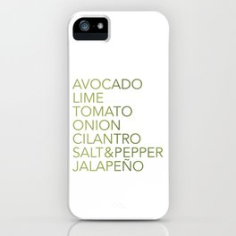 Guacamole Recipe Typography iPhone Case