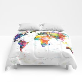 world map political watercolor 2 Comforters
