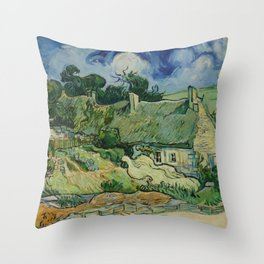 "Vincent van Gogh ""Thatched Cottages at Cordeville"" Throw Pillow"