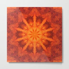 Mandala orange - Flower of Life Metal Print