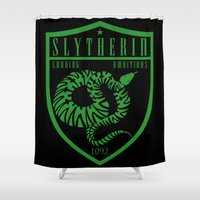 slytherin Shower Curtains featuring Slytherin Crest by machmigo