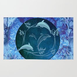 Funny dolphin with flowers Rug