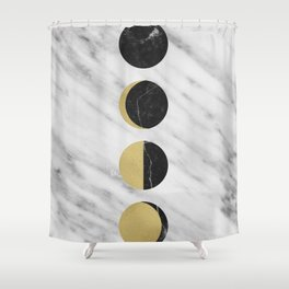Black Moon on Marble Shower Curtain
