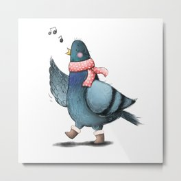 One Happy Pigeon Metal Print