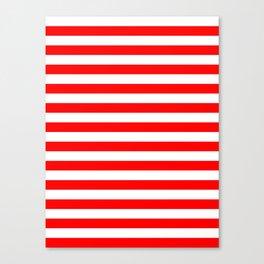 Narrow Horizontal Stripes - White and Red Canvas Print