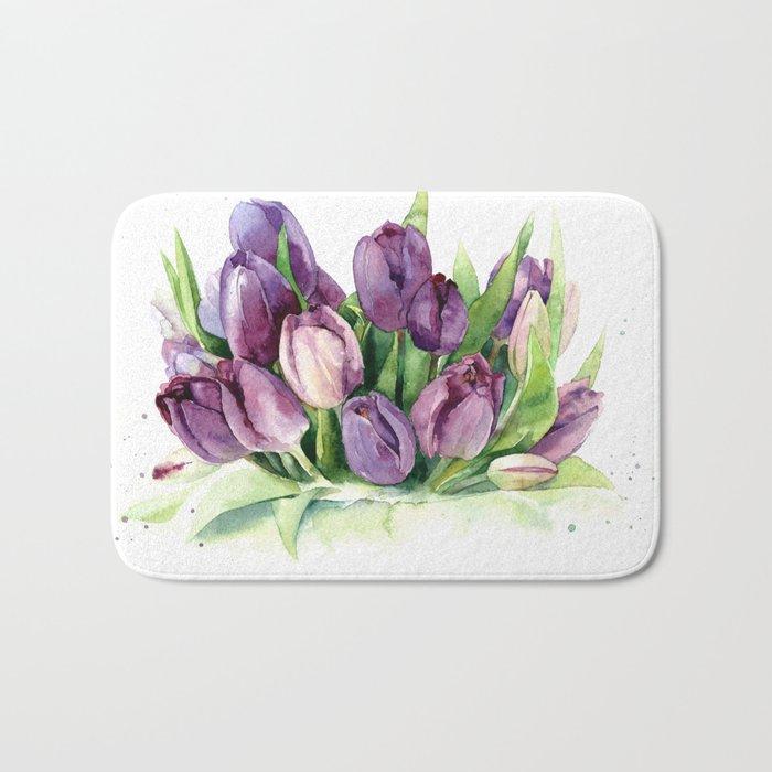 Watercolor bouquet of tulips Bath Mat