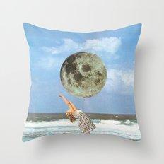 Little Luna At The Beach Throw Pillow