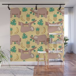 cute cartoon sloth seamless pattern background with exotic leaves, pineapples and bananas Wall Mural