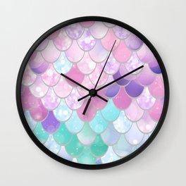 Mermaid Sweet Dreams, Pastel, Pink, Purple, Teal Wall Clock