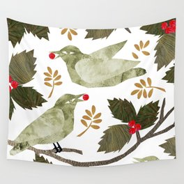 Birds and Holly in Greens, Golds and Red Wall Tapestry
