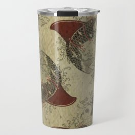 ying and yang shark fin goldfish pattern Travel Mug