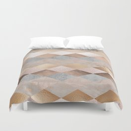 Copper and Blush Rose Gold Marble Argyle Duvet Cover