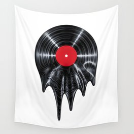 Melting vinyl / 3D render of vinyl record melting Wall Tapestry