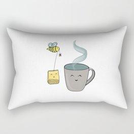 Tea Time with a Sweet Honeybee Rectangular Pillow