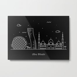 Abu Dhabi Minimalist Skyline Drawing Metal Print