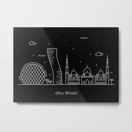 Abu Dhabi Minimalist Skyline Drawing Metal Print