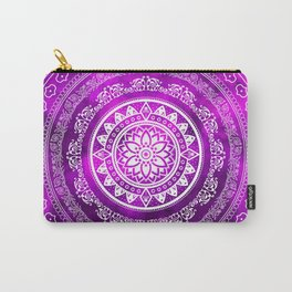 'Purple Destiny' Purple & White Flower Of Life Boho Mandala Design Carry-All Pouch
