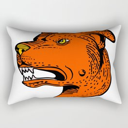 Angry American Staffordshire Bull Terrier Etching Color Rectangular Pillow