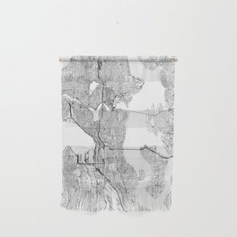 Seattle White Map Wall Hanging