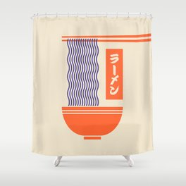 Ramen Japanese Food Noodle Bowl Chopsticks - Cream Shower Curtain