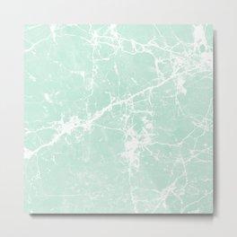 Modern vintage mint white elegant marble Metal Print