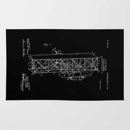 Wright Brothers Patent: Flying Machine - White on Black Rug