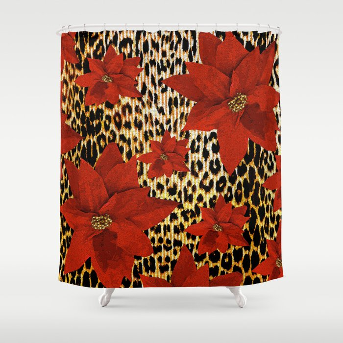 Animal Print Leopard And Red Poinsettia Shower Curtain