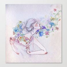 The lady and the flowers. Canvas Print