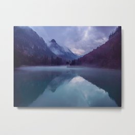Mountain Valley Lake Purple And Blue Colors Metal Print
