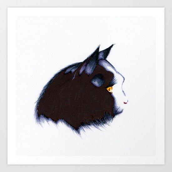 black cat Art Print