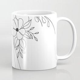 Minimal Line Art Nude Woman with Flowers Coffee Mug