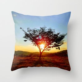 Lonely tree on the field Throw Pillow