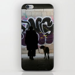 Woman and dog, graffiti iPhone Skin