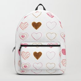 Pink and Gold Hearts Doodle Art Backpack