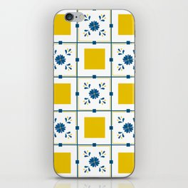 Talavera, blue and yellow flowers iPhone Skin