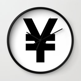 Yen Sign (Black & White) Wall Clock