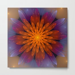 Fiery Fantasy Flower, fractal abstract Metal Print