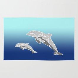 Vector Dolphins Mosaic Rug