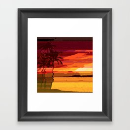 Tropical Glitchset Framed Art Print