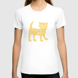 Yellow cat drawing, yellow cat pattern, yellow cat design T-shirt