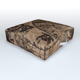 Vintage Old World Map Design Outdoor Floor Cushion