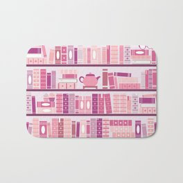 Bookcase Pattern Romance Pink Books Bath Mat