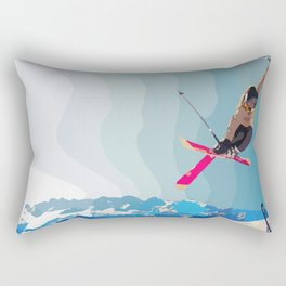 Man jumps with skies on piste with mountains and sky background Rectangular Pillow