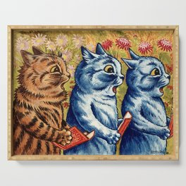 Three cats singing vintage painting Serving Tray