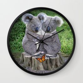 Baby Koala Huggies Wall Clock