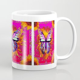Rainbow Colored Butterfly On Red-fuchsia Sunflower Floral  Coffee Mug