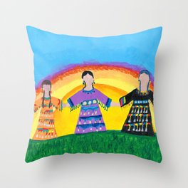 Jingle Dress Sisters Throw Pillow