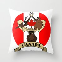 canada Throw Pillows featuring CANADA by scarah