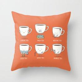 Types of tea Throw Pillow