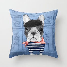 Frenchie with Arc de Triomphe Throw Pillow